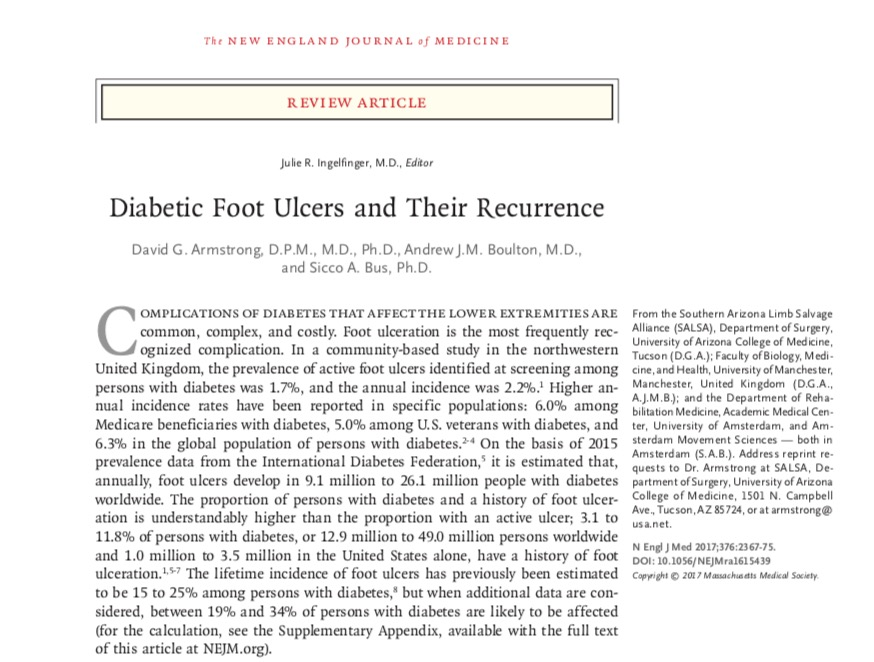 New England Journal of Medicine: Diabetic Foot Ulcers and their Recurrence